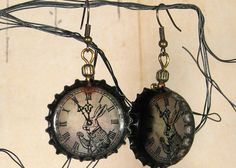 Steampunk Alice in Wonderland White Rabbit clockface Beer Cap Earrings artificially aged recycled jewelry industrial shabby chic    http://www.etsy.com/listing/119824943/015-steampunk-alice-in-wonderland-white?ref=sr_gallery_60_search_query=steampunk_view_type=gallery_ship_to=FR_item_language=en-US_page=6_search_type=handmade_facet=handmade%2Fjewelry%2Fearringssteampunk