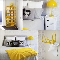 Gray and yellow baby room: 13 sublime rooms to inspire you! Yellow Kids Rooms, Yellow Cabinets, Baby Yellow, Kid Spaces, My New Room, Boy Room, Child's Room, Kids Bedroom, Bedroom Ideas