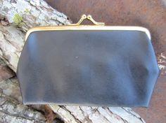 Vintage Black Vinyl Coin Purse w/ Golden Frame // Kisslock Change Purse // Black Wallet Black Wallet, Change Purse, Almost Always, Vintage Black, Preppy, Im Not Perfect, Coin Purse, Denim, Frame
