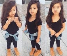 How cute is this little fashionista?! #cute #kidfashion #duckface