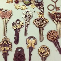 Easy! make key look vintage by gluing metal pins (can get at Micheals) to the front of it!