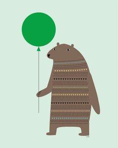 Hoe lief kan een beer zijn? Met een ballon en een onschuldige blik, past hij in elke kinderkamer.  afmeting: 40 x 50 cm. kleur: multi colour...