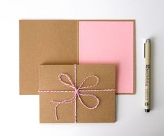 Blank Cards Kraft Paper Pink Interior A2 Set of Six  by LBCpaper, $7.50