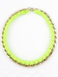 Collar cadena dorado con cuerda verde neon EUR€5.94
