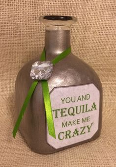 You and Tequila Song Lyric Decorative Patron Bottle by KatiesSpecialTouch on Etsy