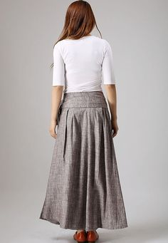 casual linen skirt woman wrap skirt custom made long por xiaolizi