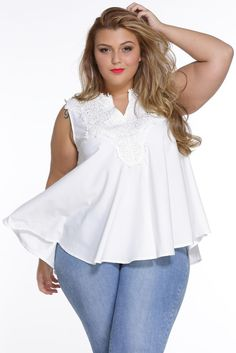 10c42f0a7bf Sleeveless White Embroidered design Chic Plus Size Blouse Top