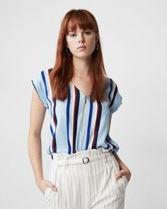 striped zip front rolled sleeve blouse