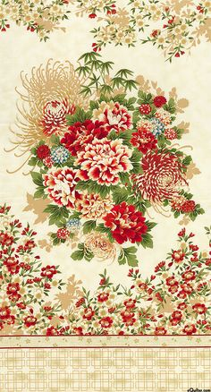 """Asian Traditions - Flower Festival - 24"""" x 44"""" PANEL - Quilt Fabrics from www.eQuilter.com"""