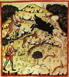 Traités de santé du 14ème siècle Scena di caccia al cinghiale