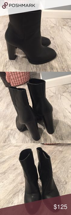 Vince Overton Black Booties! Vince Overton Black Booties! Size 10. Practically Brand New. Worn once in NYC- bottoms are a little scuffed because the city streets in NY are no joke. Comfortable Booties, soft leather perfect everyday Booties. Vince Shoes Ankle Boots & Booties