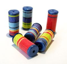 Bright Striped Tube Beads with Blue Ends -  Paper and Polymer Clay by BarbiesBest on Etsy