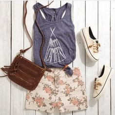 Happy camper tee and floral shorts,bag and shoes:)