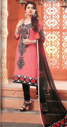 $61.04 Pink Resham Work Cotton Churidar Salwar Kameez 26582