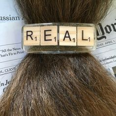 Let's stick to the facts!  REAL barrette, Scrabble tile hair clip.