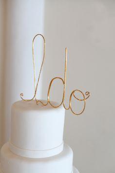 gilded I Do cake topper