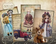 GRANNY'S TOYS - Digital Collage Sheet Printable Gift Tags Vintage paper craft Scrapbooking Printable download.