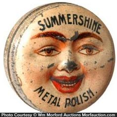 Wonderful, small sample size product tin for Summershine brand metal polish (Summers Co. New York) featuring great figural embossed face on lid. Sold at: Wm Morford Antiques Looking to Buy or Sell? Vintage Tins, Vintage Love, Vintage Antiques, Vintage Tin Signs, Vintage Party, Vintage Metal, Tin Containers, Vintage Packaging, Tin Toys