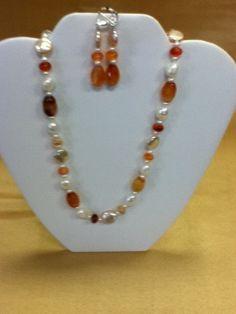 Sterling Silver Carnelian and Freshwater Pearl beaded set   Bejeweledgems - Jewelry on ArtFire