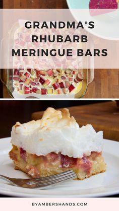 Rhubarb Meringue Bars -- {My Grandma's Recipes} Meringue Desserts, Rhubarb Desserts, Rhubarb Cake, Köstliche Desserts, Delicious Desserts, Yummy Food, Plated Desserts, Best Rhubarb Recipes, Fruit Recipes