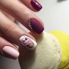 Маникюр. Дизайн ногтей. Art Simple Nail Fancy Nails, Diy Nails, Pretty Nails, Manicure, Fabulous Nails, Perfect Nails, Fingernail Designs, Nail Art Designs, Cupcake Nail Art