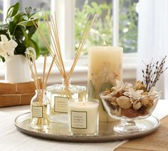 Shop homescent collection - gardenia from Pottery Barn. Our furniture, home decor and accessories collections feature homescent collection - gardenia in quality materials and classic styles. Coffee Table Styling, Decorating Coffee Tables, Table Decor Living Room, Bedroom Decor, Vanity Decor, Home Scents, Tray Decor, Home Decor Inspiration, Diy Home Decor
