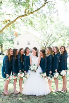 navy bridesmaids | E