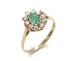Emerald Ring Cubic Zirconia Ring Womens Ring Green Stone