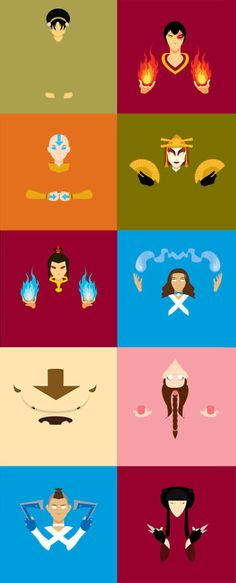 Minimalist Avatar: The Last Airbender - This needs an Uncle Iroh and the Cabbage Guy.