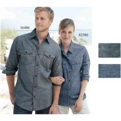 Burnside (R) ladies' long sleeve chambray shirt. 4.0 oz. 80/20 cotton/polyester. Two check pockets with button-down flaps. Half back yoke. Roll-up button sleeve. Button cuffs.