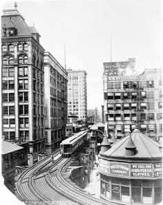 """Elevated train, 1897 (From photogallery """"Chicago's defining moments: 1840-1963"""" trib.in/mVZ3Qp)"""