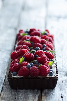 basil tart with fresh fruits.