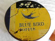 Vintage BLUE BIRD COFFEE tin, blue and yellow, Made In England Harry Vincent