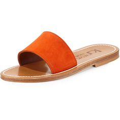 K. Jacques Anacapri Wide Band Slide Sandal ($285) ❤ liked on Polyvore featuring shoes, sandals, velours naranja, slip on sandals, flat sandals, flat shoes, strap sandals ve strappy sandals