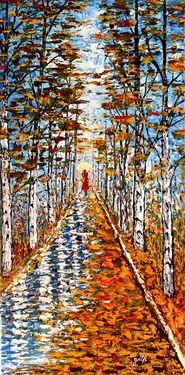 """Saatchi Online Artist Georgeta Blanaru; Painting, """"Woman in Red palette knife painting"""" #art"""