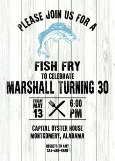 Fish Fry Invitation 10pk with envelopes by KwikKopyshop on Etsy
