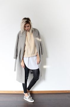 COS coat, H&M TREND nude sweater, ZARA long shirt, WHIITE leather pants, ACNE STUDIOS Adriana sneakers