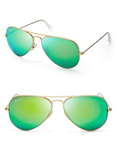 Ray-Ban Polarized Mirrored Aviator Sunglasses | Bloomingdale's