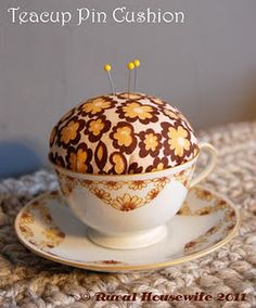 Teacup Pin Cushion - DIY https://www.youcanmakethis.com/products/free/free-teacup-pincushion-tutorial.htm