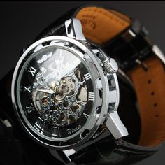 Steampunk Mens gear watch,  Silver with black synthetic leather band.  Very elegant.. $47.00, via Etsy.