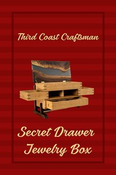Check out this awesome build by Third Coast Craftsman!  #thirdcoastcraftsman #jewelrybox #epoxyrivertop #secretdrawer #jewelryboxdiy Rockler Woodworking, Cool Woodworking Projects, Woodworking Techniques, Diy Wood Projects, Fine Woodworking, Wood Crafts, Woodworking Videos, Jewelry Box Plans, Workshop Organization