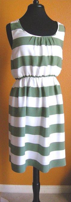 Banana Republic Heritage Green Striped Sleeveless Rayon Dress Size 4 Lined NWT #BananaRepublic #Sundress