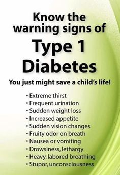 Know the warning signs of T1 Diabetes.
