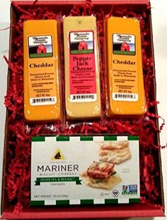 Cheddar, Smoked Cheddar and Pepper Cheese Wisconsin Cheese & Cracker Gift Box The Best Wisconsin Cheese Wisconsin Cheese & Crackers