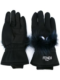 Fendi Bag Bugs Fur-appliquÉ Gloves In Black Fendi Bag Bugs, Monster Eyes, Fleece Gloves, Keep Warm, Fox Fur, Fur Trim, Midnight Blue, Designing Women, Applique