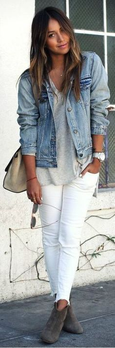 #casualoutfits #spring | Denim Jacket + White Jeans | Sincerely Jules