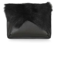 TOPSHOP Premium Shearling Clutch ($95) ❤ liked on Polyvore featuring bags, handbags, clutches, topshop, black, shearling purse, black handbags, topshop handbags and black purse