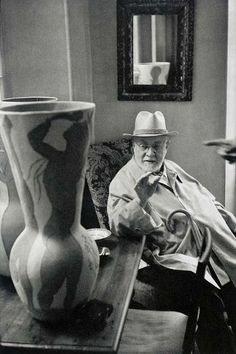 Artwork by Henri Cartier-Bresson, Henri Matisse observing a ceramic vase by Pablo Picasso, Saint-Jean-Cap-Ferrat, Made of Gelatin silver print, printed later Henri Cartier Bresson, Magnum Photos, Henri Matisse, Pablo Picasso, Famous Artists, Great Artists, Raoul Dufy, French Photographers, Foto Art