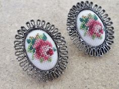 Floral Needlework Clip On Earrings Needlepoint embroidery Petit Point Flowers