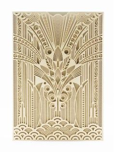 An Art Deco gold shimmer laser cut pocket. Double sided card on champagne shimmer paper. Includes ornate envelope with Deco elements on the front. Width : 130 m